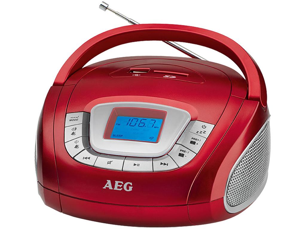 AEG Φορητό Ραδιόφωνο 10W με USB/SD/FM/ AUX-IN σε Κόκκινο χρώμα, SR 4373 - AEG τεχνολογία   cd   mp3 4   dvd   media players