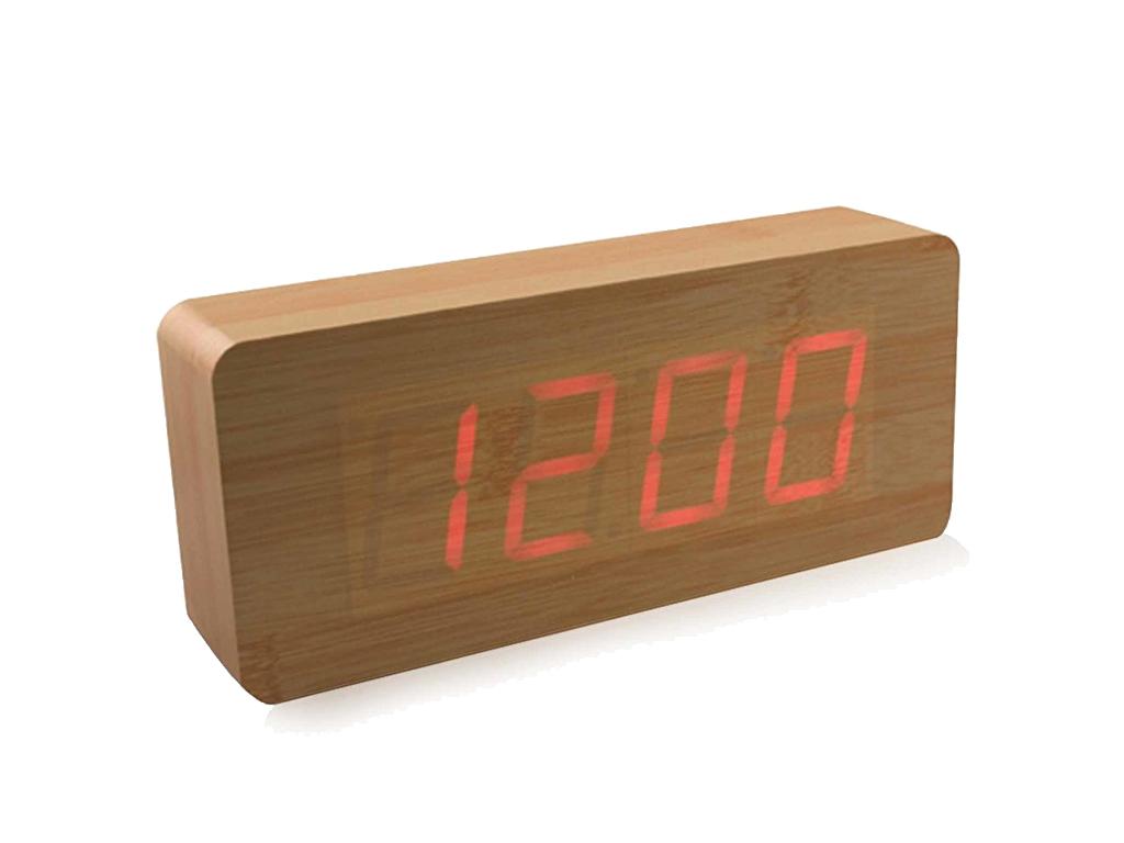 Ξύλινο Vintage LED Ρολόι Ημερολόγιο, Ξυπνητήρι, Θερμόμετρο με Αισθητήρα Ήχου Δόν διακόσμηση και φωτισμός   ρολόγια τοίχου  επιτραπέζια και επιδαπέδια ρολόγια