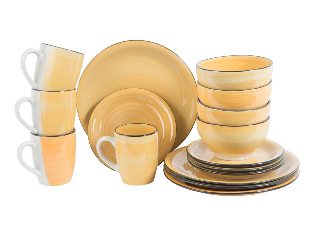 Trento Σετ 4 Σερβίτσια Δείπνου 16 τεμ. με Πιάτα, Μπολ και Κούπες σε Κίτρινο χρώμ σερβίρισμα   σερβίτσια