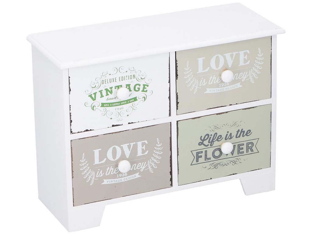 Arti Casa Ξύλινη Vintage Σύνθεση Οργανωτής με 4 συρτάρια 27x20x10.8cm ιδανικό γι έπιπλα   μπαούλα και κουτιά αποθήκευσης