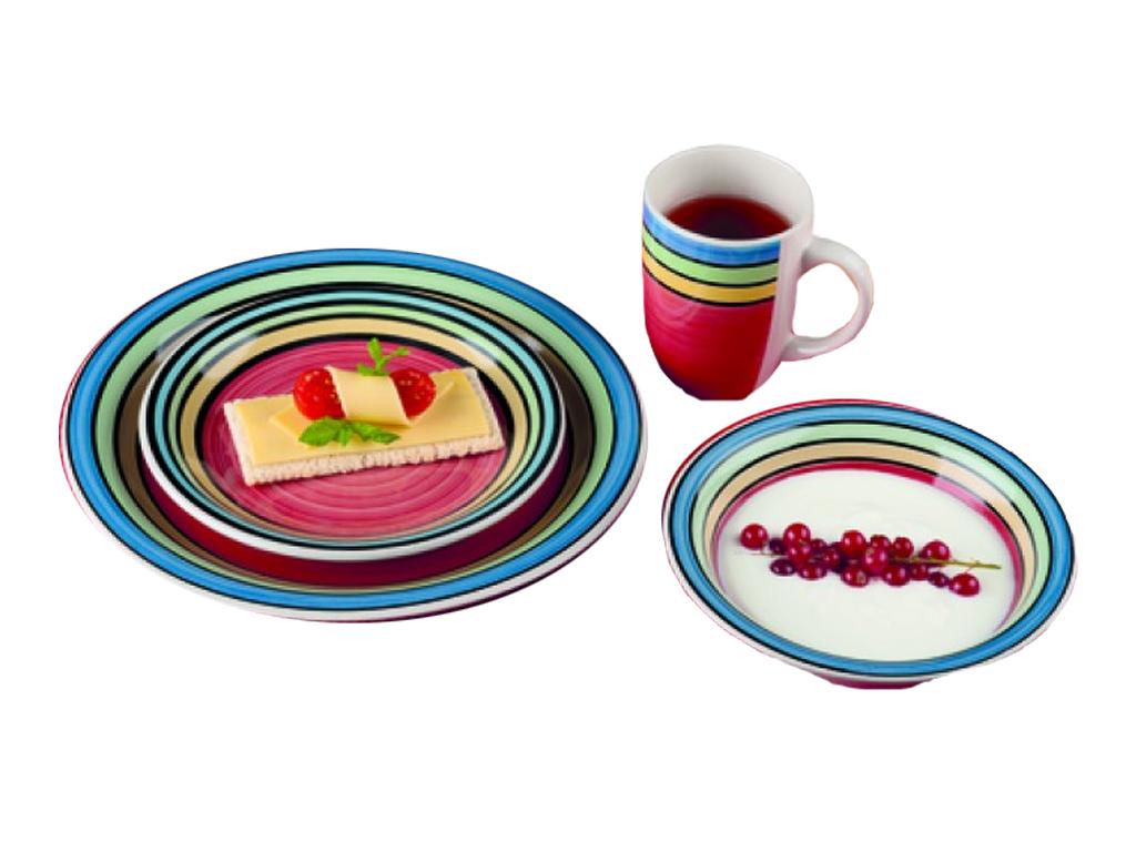 Trento Σετ 4 Σερβίτσια 16 τεμ. με Πιάτα και Κούπες σε Ριγέ πολύχρωμο μοτίβο, 330 σερβίρισμα   σερβίτσια