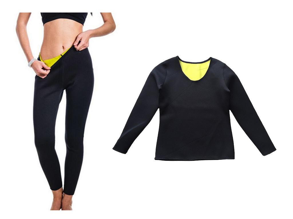 Σετ Μακρύ Κολάν και Μπλούζα Εφίδρωσης αδυνατίσματος Lastex Αντι-αλλεργικό για Σύ αθλητισμός και fitness   ρούχα  αξεσουάρ και φορητή τεχνολογία