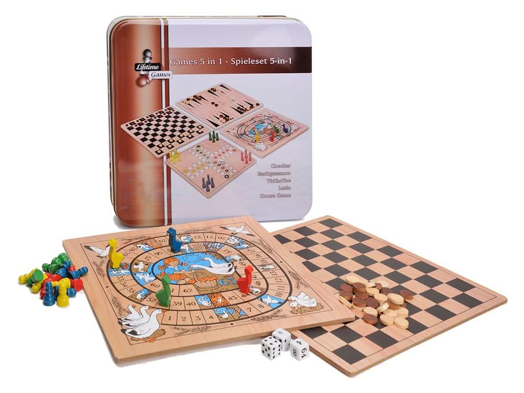 Σετ Παιχνιδιών 5 σε 1 Ντάμα, Τάβλι, Γκρινιάρης, Goose, Τρίλιζα, 5x30x30, Lifetim παιχνίδια   επιτραπέζια παιχνίδια