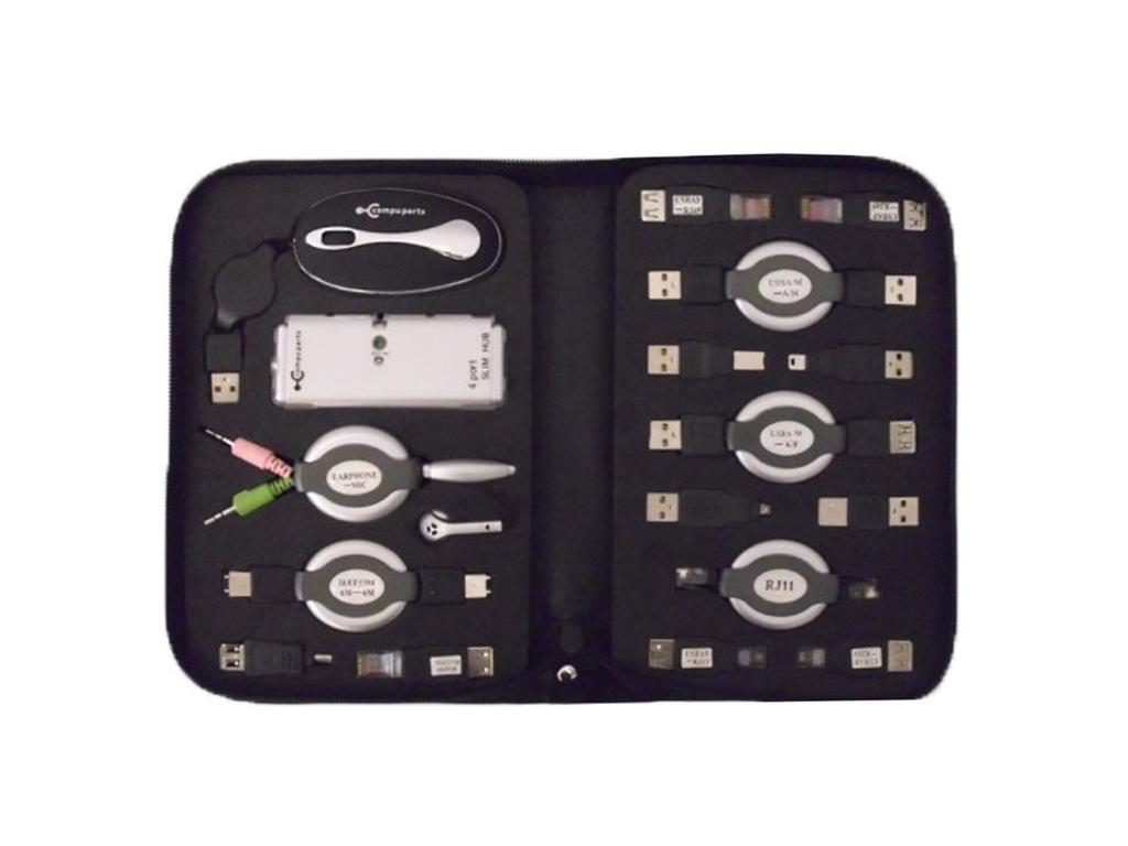 Usb kit 17 τμχ. με Ποντίκι, mini USB hub, Αντάπτορες και τσάντας μεταφοράς 32x4x τηλεφωνία και tablets   aξεσουάρ για κινητά και tablets