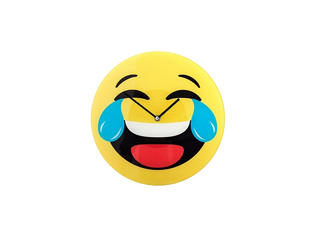 Emoticon Διακοσμητικό Γυάλινο Ρολόι Τοίχου 30cm Γέλιο μέχρι δακρύων, V0000148 - Cb