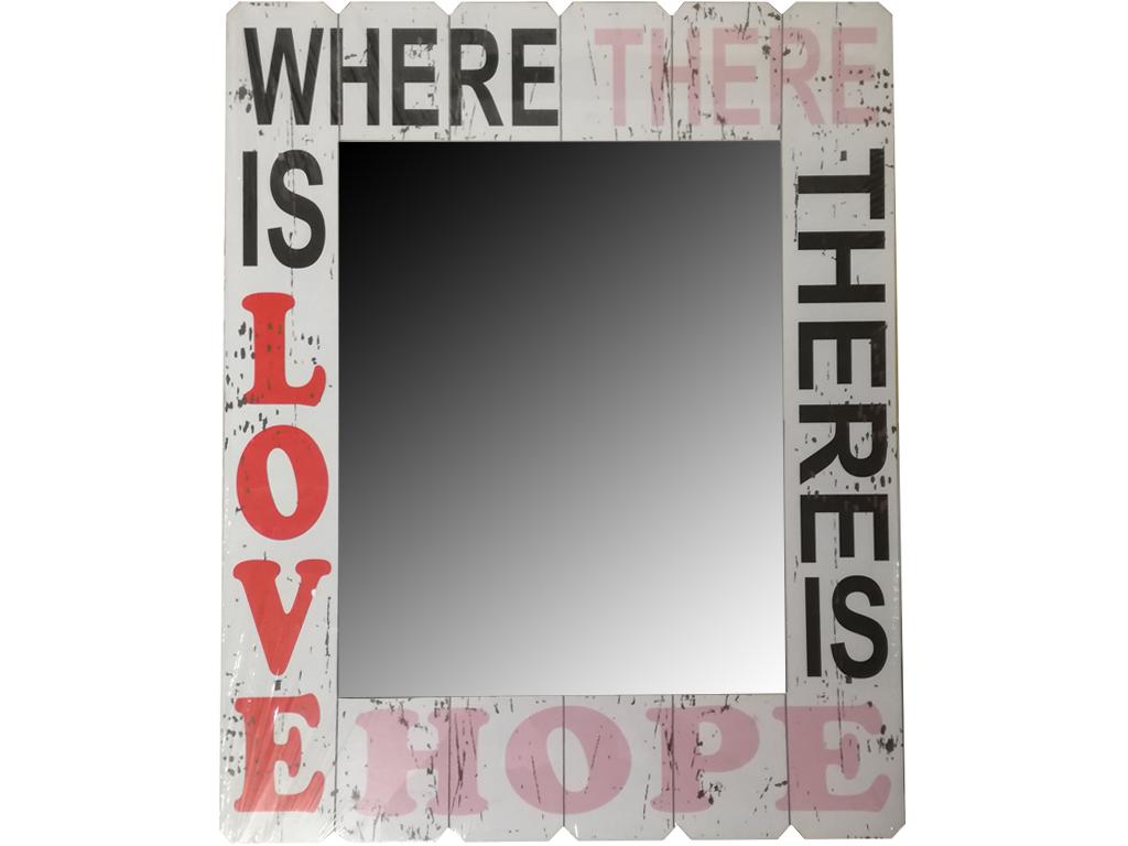 Καθρέφτης Τετράγωνος 48x60x1cm από ξύλο με ιδιαίτερο στυλ σε Λευκό χρώμα, 88111 - Cb