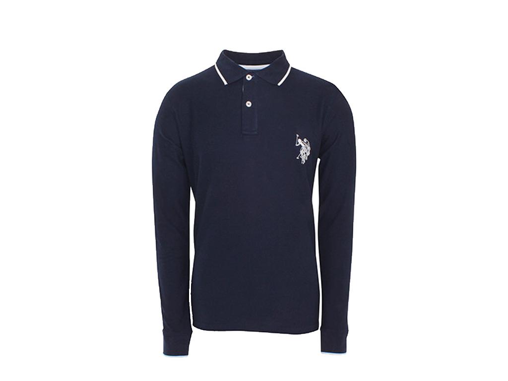 U.S. Polo Assn Ανδρική Πόλο Μπλούζα με Μακρύ Μανίκι και κουμπιά σε Σκρούρο Μπλε  ανδρική ένδυση   ανδρικές μπλούζες