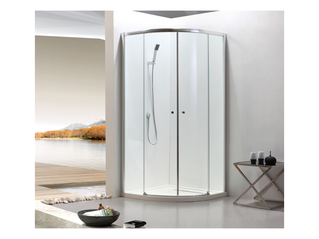 Ally Συρόμενη Πόρτα Καμπίνα Ντουζιέρας 200x90x90cm με 2 σταθερά και 2 κυρτά συρό μπάνιο   έπιπλα μπάνιου