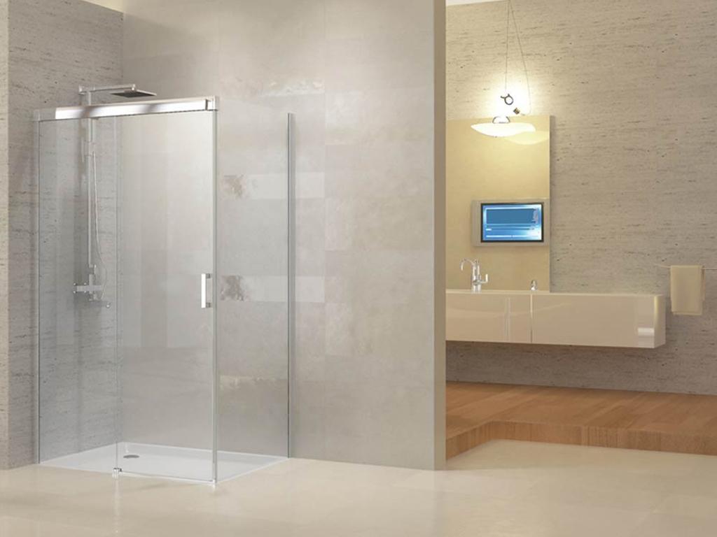 Ally Συρόμενη Πόρτα Καμπίνα Ντουζιέρας 200x120x90cm με 1 σταθερό και 1 συρόμενο  μπάνιο   έπιπλα μπάνιου