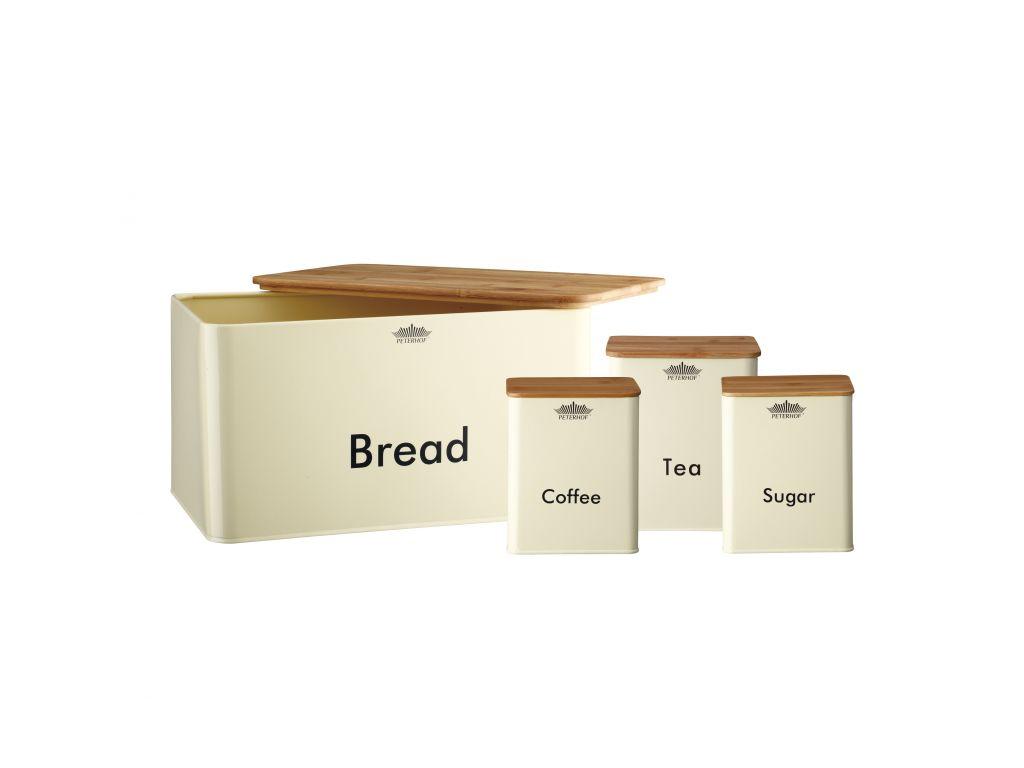 Peterhof Μεταλλική Ψωμιέρα Σετ 8 τεμ. με 3 Βαζάκια Αποθήκευσης για Καφέ, Τσάι κα κουζίνα   κουτιά κουζίνας και ψωμιέρες