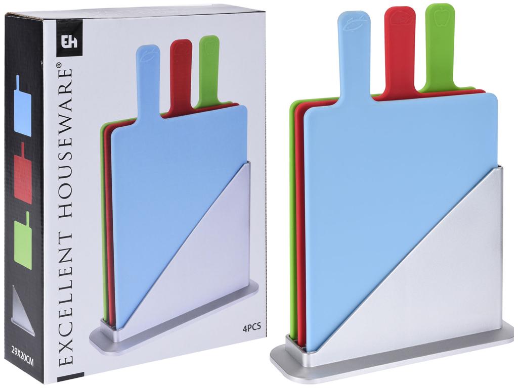 Σετ 4 τεμ Επιφάνεια Βάση κοπής από Πλαστικό 29x20x0.5cm σε 3 διαφορετικά χρώματα αξεσουάρ και εργαλεία κουζίνας   επιφάνειες κοπής