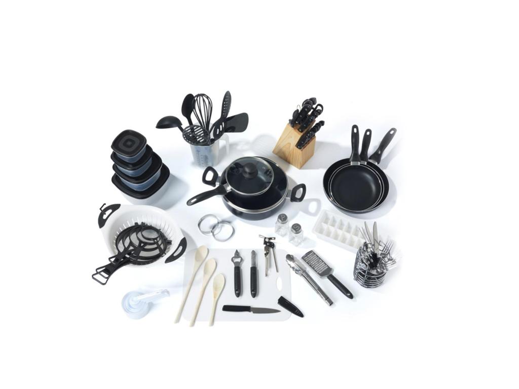 Πλήρες Σετ Αξεσουάρ Κουζίνας και Σκευών μαγειρικής 80 τεμ. σε Μαύρο χρώμα, Excel κουζίνα   αξεσουάρ και εργαλεία κουζίνας