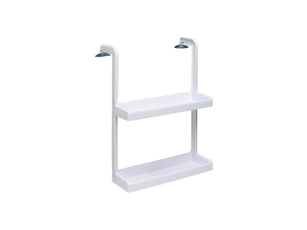 Κρεμαστή Ραφιέρα 48x13x34cm με 2 ράφια αποθήκευσης σε λευκό χρώμα, 99483 - Cb κουζίνα   οργανωτές τρόλει κουζίνας