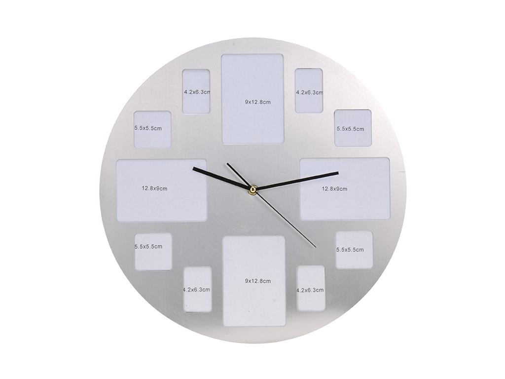 Διακοσμητικό Ρολόι Τοίχου 40cm Αλουμινίου με Θέσεις για 12 φωτογραφίες σε Ασημί  διακόσμηση και φωτισμός   ρολόγια τοίχου  επιτραπέζια και επιδαπέδια ρολόγια
