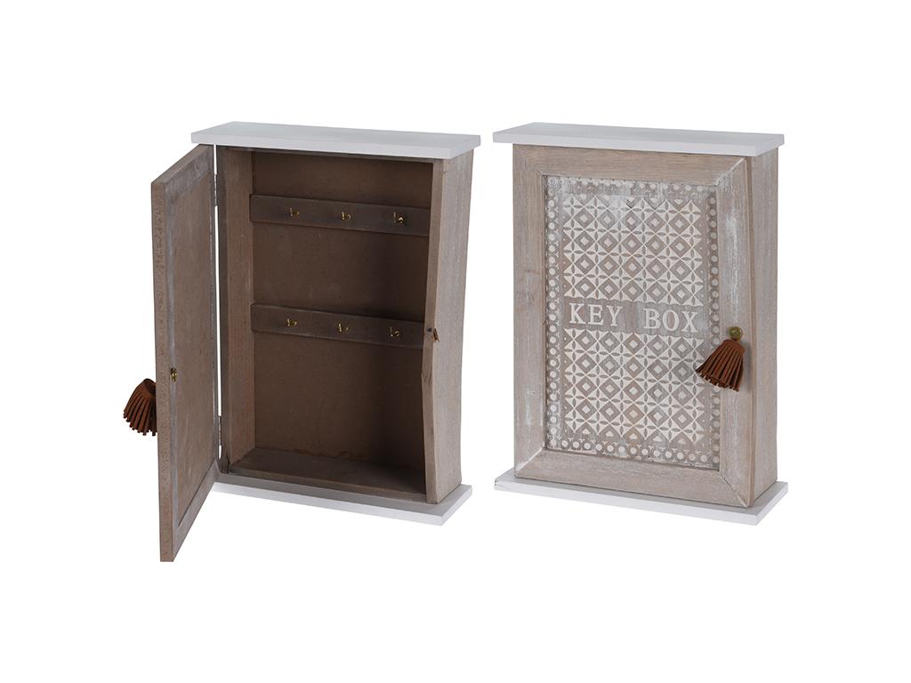 Ξύλινη vintage Κλειδοθήκη Ντουλάπι 44x30.5x42cm με 6 γάντζους για κλειδιά και δι έπιπλα   κλειδοθήκες