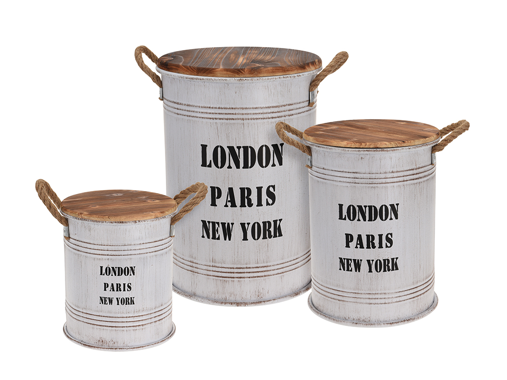 Σετ Vintage Βαρέλια Δοχεία αποθήκευσης 3 τεμ. σε Λευκό ματ χρώμα με λαβές από σχ έπιπλα   οργανωτές αντικειμένων