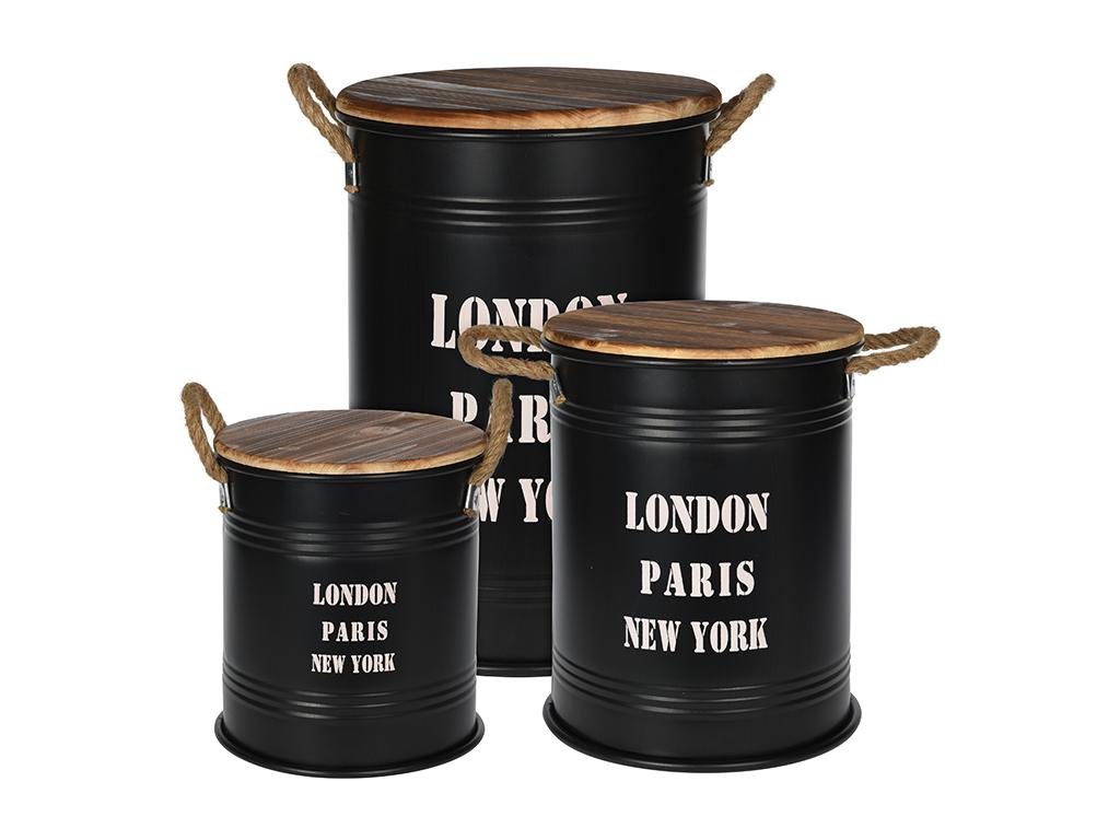 Σετ Vintage Βαρέλια Δοχεία αποθήκευσης 3 τεμ. σε Μαύρο ματ χρώμα με λαβές από σχ έπιπλα   οργανωτές αντικειμένων