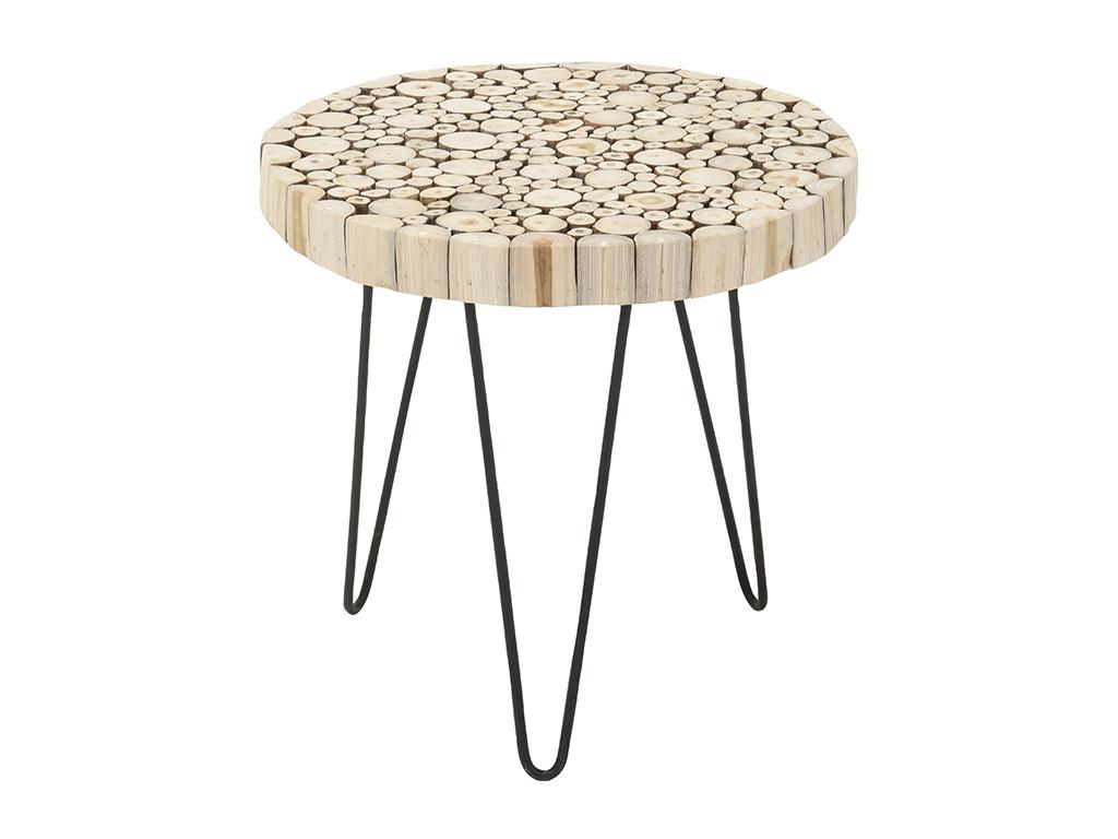 Έπιπλο Στρογγυλό Τραπέζι Side Table από Ξύλο Teak και με μοτίβο κομμένους κορμούς, διαμέτρου 50cm - Cb