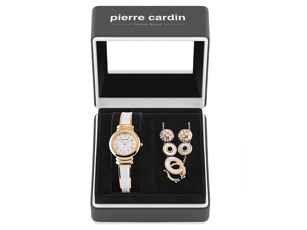 Pierre Cardin PCX6007L257 Σετ συλλογή Κοσμημάτων με Γυναικείο Ρολόι σε Λευκό Ροζ γυναικεία αξεσουάρ και κοσμήματα   σετ κοσμημάτων