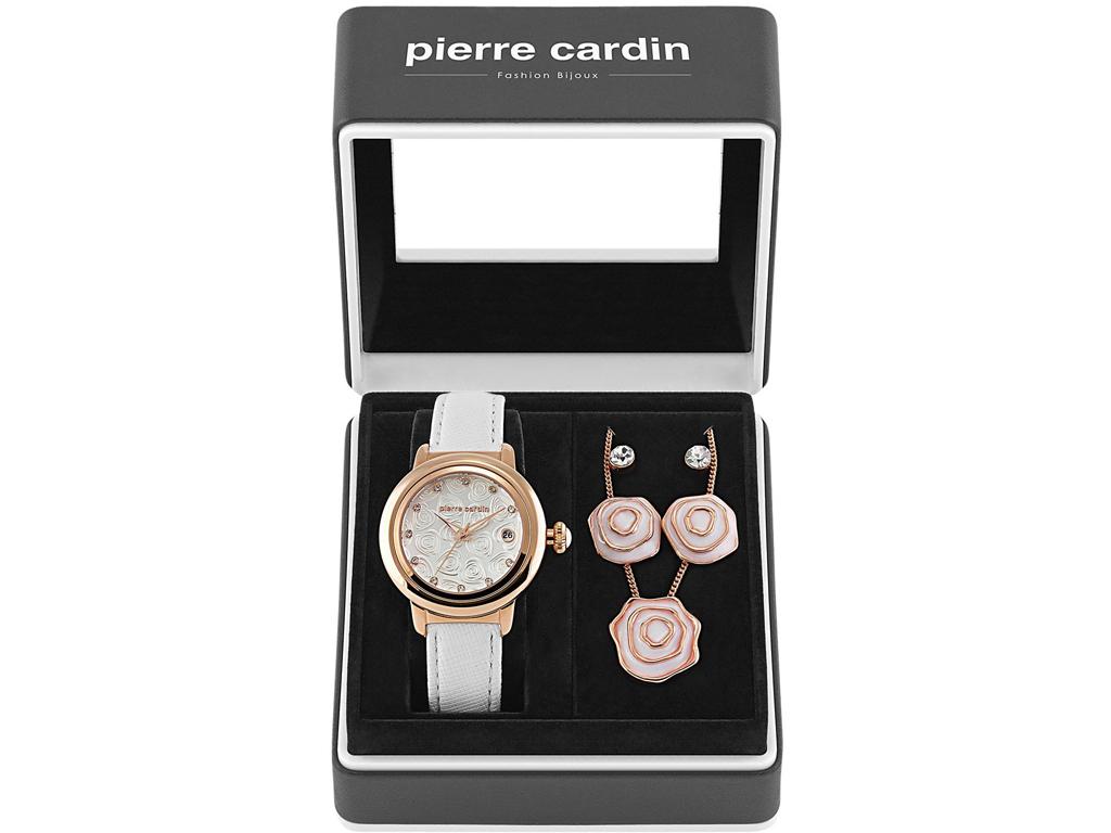 Pierre Cardin PCX6063L260 Σετ συλλογή Κοσμημάτων με Γυναικείο Ρολόι σε Λευκό Ροζ γυναικεία αξεσουάρ και κοσμήματα   σετ κοσμημάτων