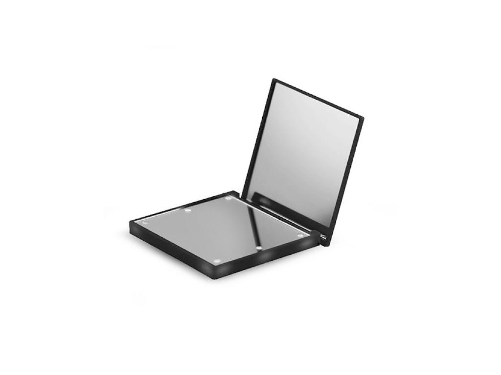 Φωτιζόμενο Διπλό Καθρεφτάκι Τσάντας 69x69x12mm με 6 Led σε Μαύρο χρώμα, Adler AD υγεία και ομορφιά   καθρέφτες
