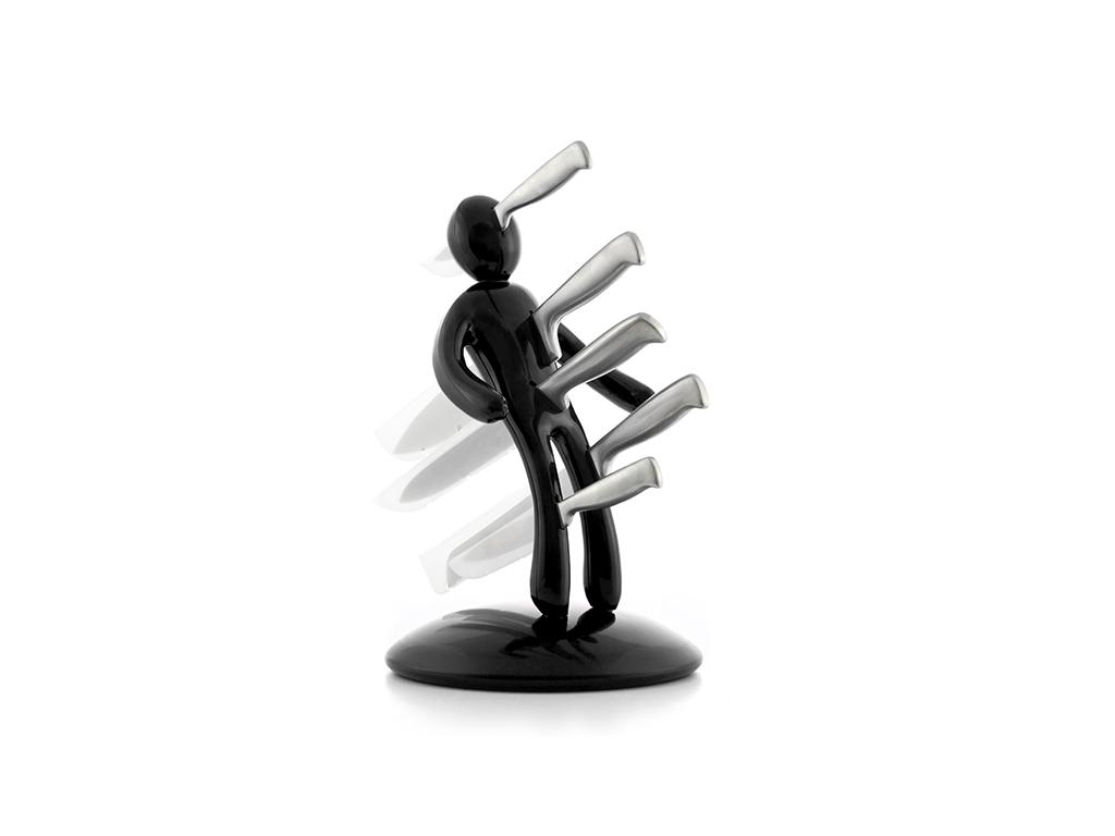 Σετ Βουντού Θήκη για Μαχαίρια 5 τεμάχια από Ανοξείδωτο ατσάλι σε Μαύρο χρώμα, InnovaGoods, V0100456 - InnovaGoods