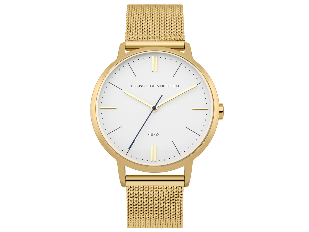 French Connection Αναλογικό Γυναικείο Ρολόι χειρός με Λευκό καντράν, Χρυσή Κάσα, ρολόγια χειρός   γυναικεία ρολόγια χειρός