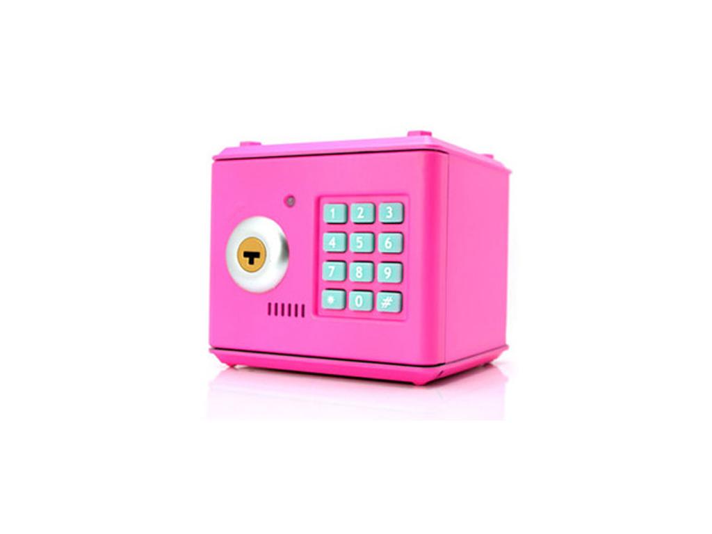 Κουμπαράς Χρηματοκιβώτιο με Ηλεκτρονικό Συνδυασμό και Κλειδί CRZ-66! Χρώμα Ροζ - διακόσμηση και φωτισμός   κουμπαράδες