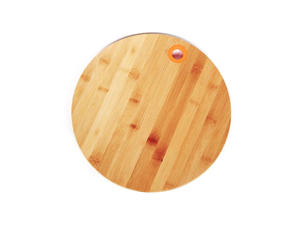 Muhler Ξύλινος Δίσκος Κοπής Στρογγυλός Μπαμπού (Bamboo) 25cm με λεπτομέρεια σε Πορτοκαλί χρώμα, MR-1636BS - Muhler
