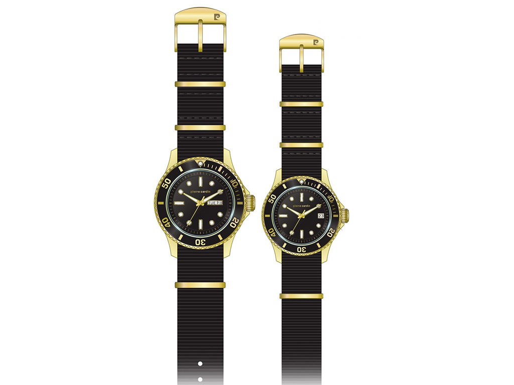Pierre Cardin Σετ Αναλογικά Unisex Ρολόγια χειρός με Μαύρο καντράν, Χρυσή Κάσα, Λευκές ενδείξεις και Μαύρο Υφασσμάτινο λουράκι σε συσκευασία δώρου, PCX6407SET - Pierre Cardin