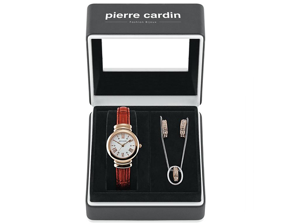 Pierre Cardin PCX6571L292 Σετ συλλογή Κοσμημάτων με Γυναικείο Ρολόι σε Κόκκινο κ γυναικεία αξεσουάρ και κοσμήματα   σετ κοσμημάτων