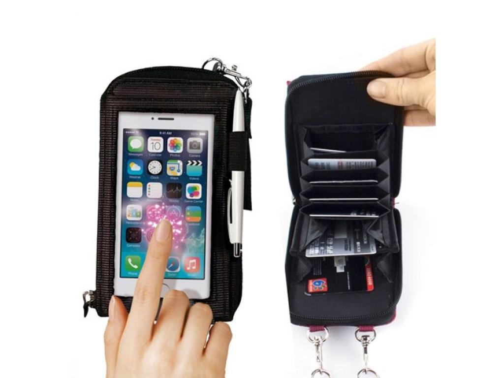 Πορτοφόλι πολλών χρήσεων για οθόνη αφής All in 1 Purse Touch 9x15x4cm σε Μπορντώ αξεσούαρ   τσάντες και πορτοφόλια