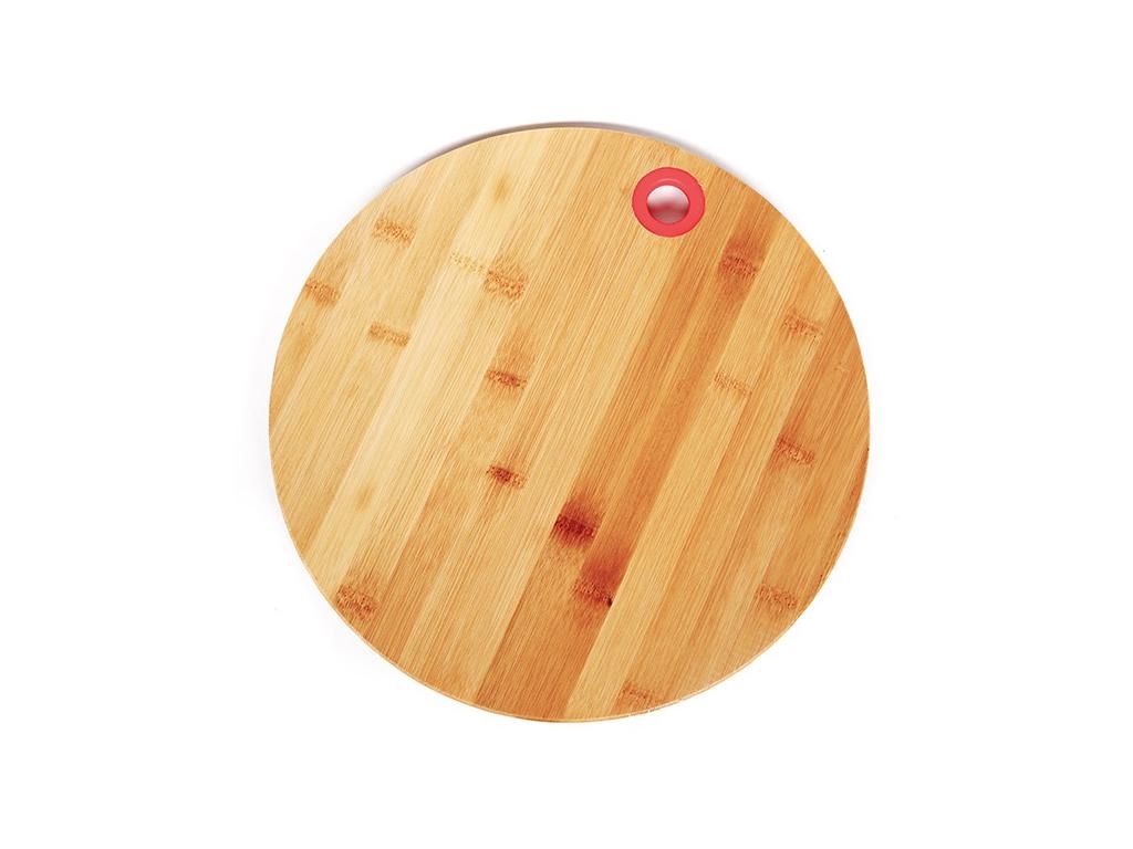 Muhler Ξύλινος Δίσκος Κοπής Στρογγυλός Μπαμπού (Bamboo) 25cm με λεπτομέρεια σε Κόκκινο χρώμα, MR-1636BS - Muhler