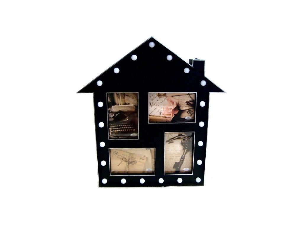 Φωτιζόμενη Πλαστική Κορνίζα 4 Φωτογραφιών σε σχήμα Σπιτιού, με 21 Λαμπιόνια LED περιμετρικά, σε Μαύρο χρώμα, KH00092 - Cb