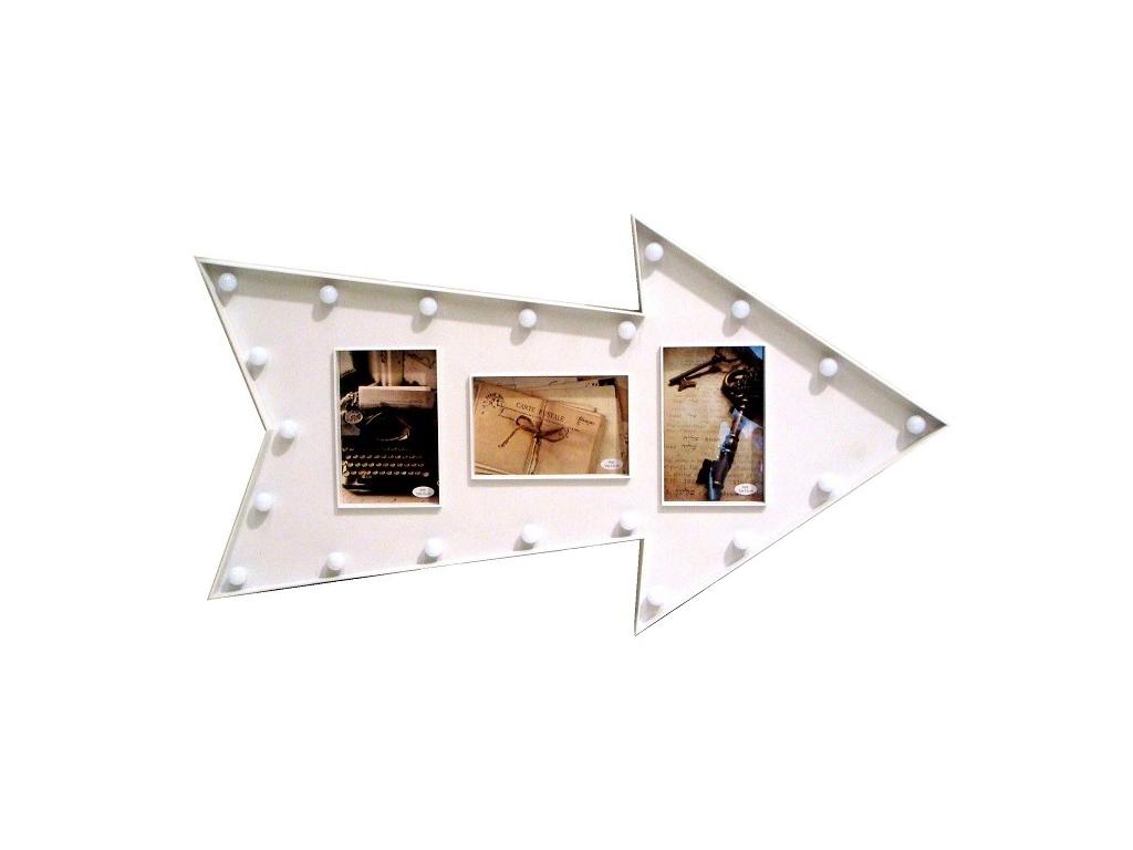 Πλαστική Κορνίζα 67x37x3cm Μοντέρνα Σύνθεση σε Σχήμα Βέλος με LED για 3 Φωτογραφίες σε Λευκό χρώμα, KH00102 - Cb