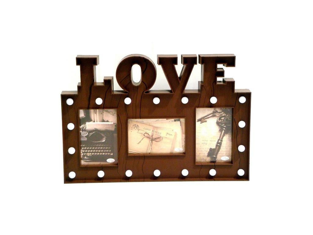 Πλαστική Κορνίζα 30x45x3cm Μοντέρνα Σύνθεση με θέμα LOVE και LED για 3 Φωτογραφίες σε Καφέ χρώμα, KH00122 - Cb