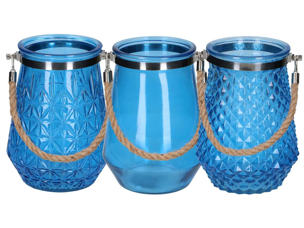 Διακοσμητικό Γυάλινο Βάζο 16x22cm με Λαβή από Σχοινί σε Διάφανο Μπλε χρώμα, Arti διακόσμηση και φωτισμός   διακόσμηση τραπεζίου και ανθοδοχεία