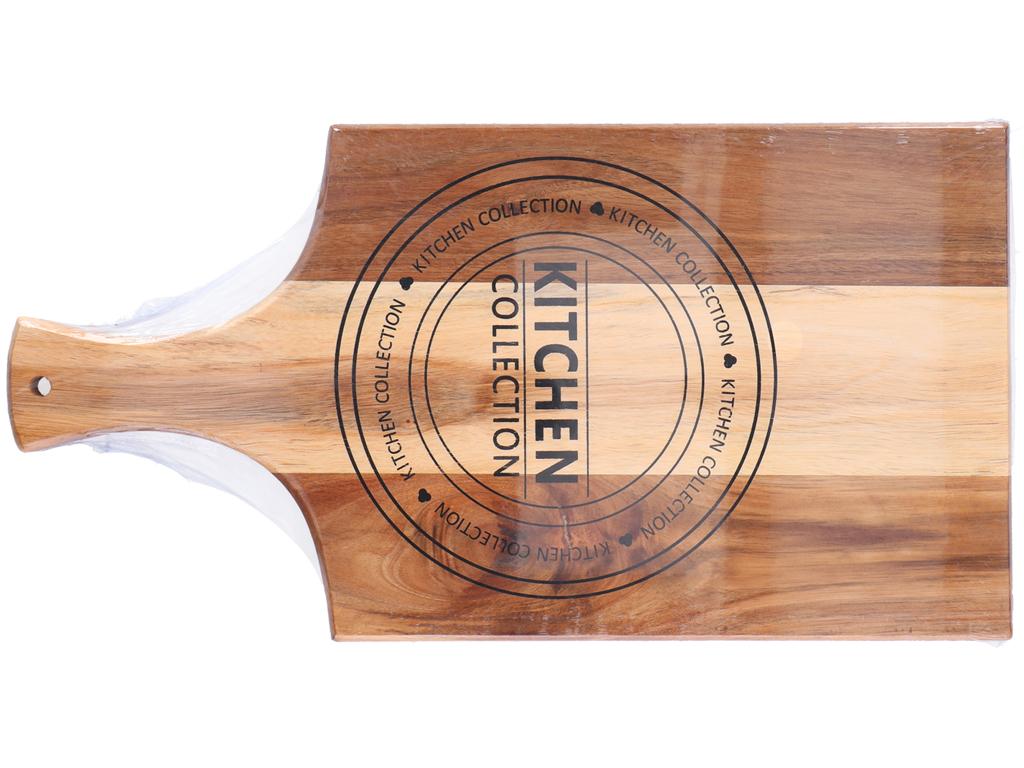 Ξύλινη Βάση Κοπής για Τυριά, Αλλαντικά, Φρούτα και Λαχανικά με Λαβή για Καλύτερη Αποθήκευση, 45.7x23x1.5cm, Kitchen Collection 05199 - Cb