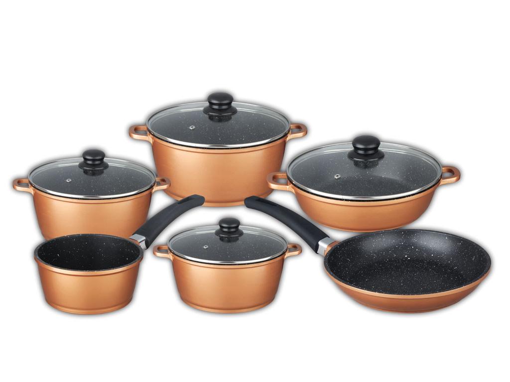 Schafer Σετ Μαγειρικά Σκεύη 10 τεμ με Μαρμάρινη Επίστρωση και πάτο Induction σε Copper χρώμα αποτελούμενο απο 4 κατσαρόλες με γυάλινο καπάκι, 1 κατσαρολάκι και 1 βαθύ τηγάνι, 10481 - Schafer