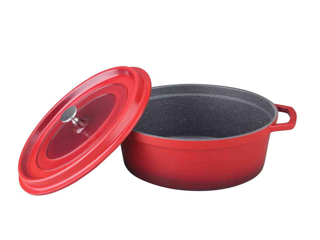 Schafer Οβάλ Γάστρα 30cm με Μαρμάρινη επίστρωση, καπάκι και 2 λαβές σε Κόκκινο Χρώμα, 10762 - Schafer