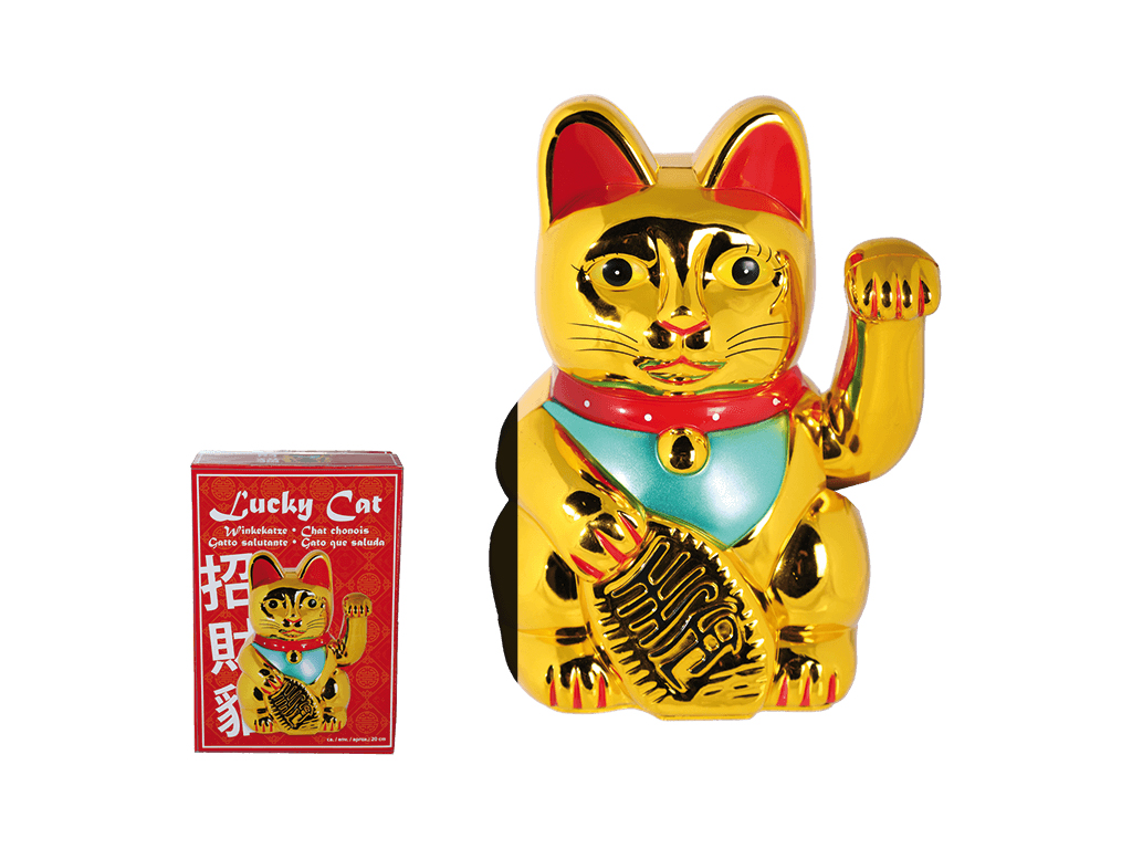 Τυχερή Γάτα που Χαιρετά Διακοσμητική 20cm από Επιχρωμιωμένο Πλαστικό σε Χρυσό χρ διακόσμηση και φωτισμός   διακόσμηση τραπεζίου και ανθοδοχεία