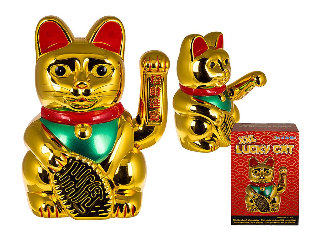Τυχερή Γάτα που Χαιρετά Διακοσμητική XXL 35x24cm από Επιχρωμιωμένο Πλαστικό σε Χ διακόσμηση και φωτισμός   διακόσμηση τραπεζίου και ανθοδοχεία