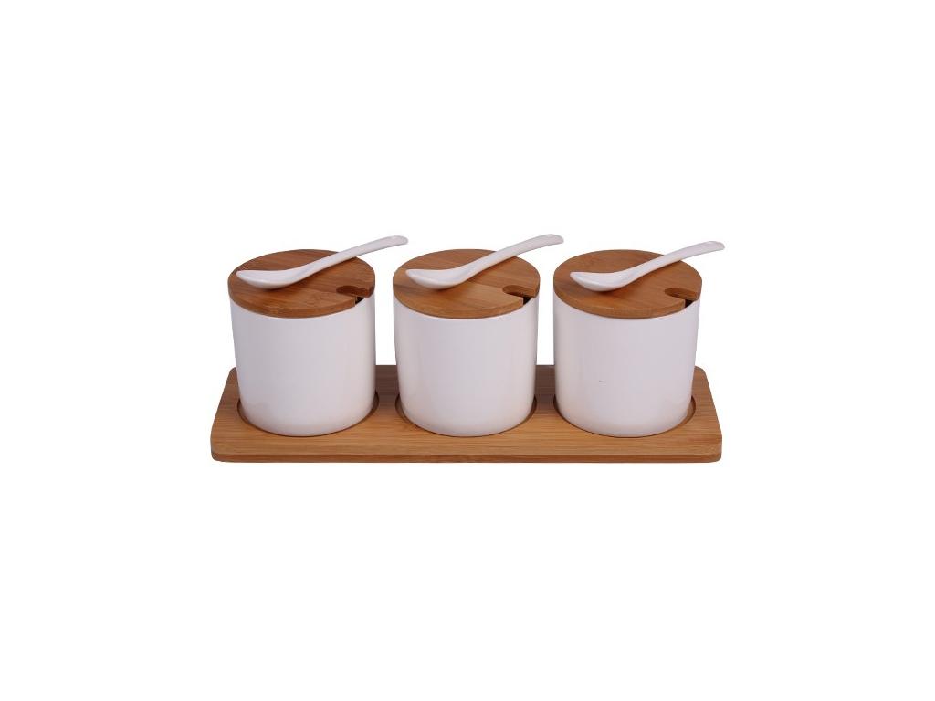Σετ Βαζάκια για Μπαχαρικά 3 Τεμάχια από Πορσελάνη με Ξύλινα Καπάκια και Κουταλάκια σε Ξύλινη Βάση, 29x10x8cm, EKO 650041 - EKO