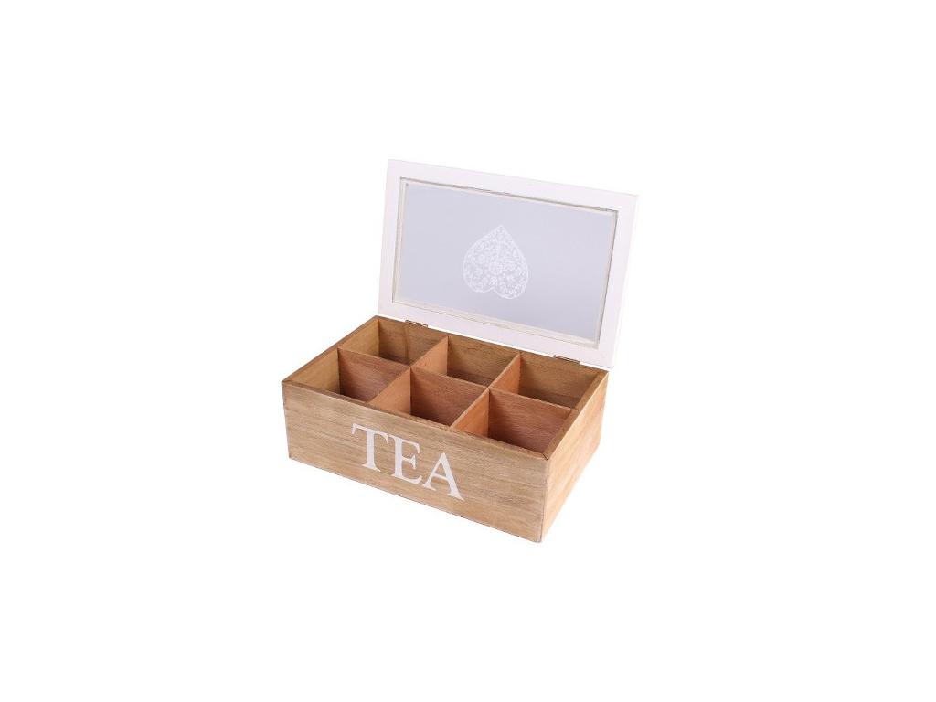 Ξύλινο Πρακτικό Vintage Κουτί Αποθήκευσης για Φακελάκια Τσαγιού με 6 Θέσεις και  κουζίνα   κουτιά κουζίνας και ψωμιέρες