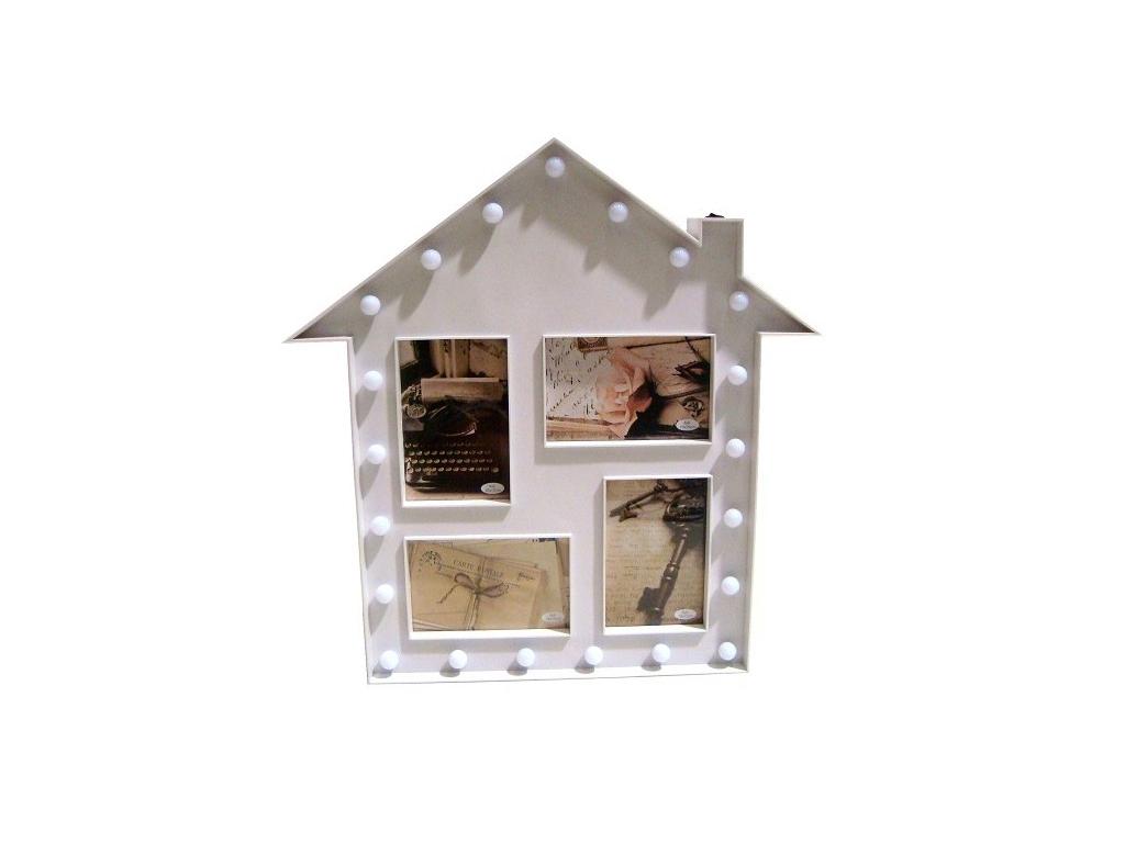 Πλαστική Κορνίζα 46x44x3cm Μοντέρνα Σύνθεση σε Σχήμα Σπιτιού με LED για 4 Φωτογραφίες σε Λευκό χρώμα, KH00082 - Cb