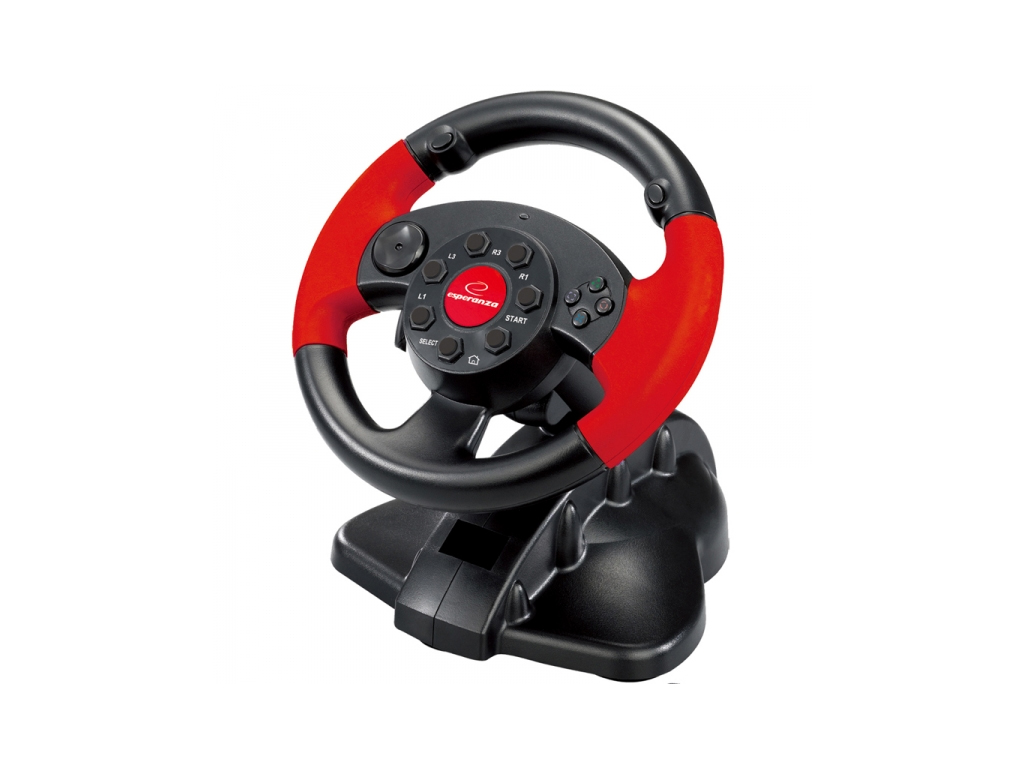 Esperanza Τιμονιέρα με πετάλια για PC/PS1/PS2/PS3 σε Μαύρο Κόκκινο χρώμα, EG103  παιχνίδια   παιχνιδοκονσόλες και αξεσουάρ gaming