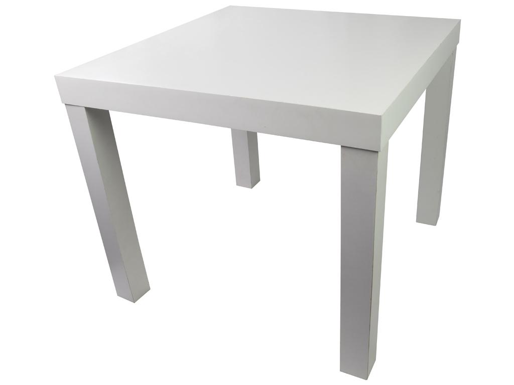 Μοντέρνο Ξύλινο Βοηθητικό Τραπεζάκι σε Σχήμα Τετραγώνου από Ξύλο MDF Μεγίστου Βάρους 25kg σε Λευκό Χρώμα, 50X50X43cm, Homestyle 06295 - Homestyle