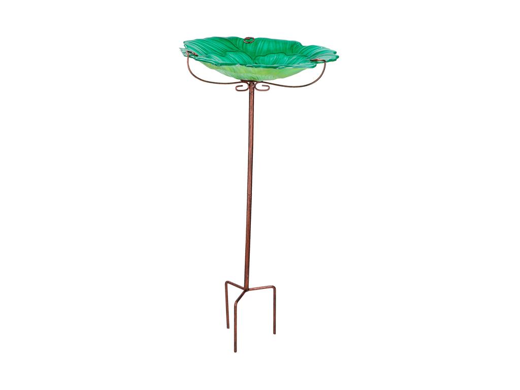 Γυάλινη Ταΐστρα Πουλιών Εξωτερικού Χώρου με Μεταλλική Βάση, 31x31x69cm, Birdfeed κατοικίδια   ποτίστρες και ταΐστρες