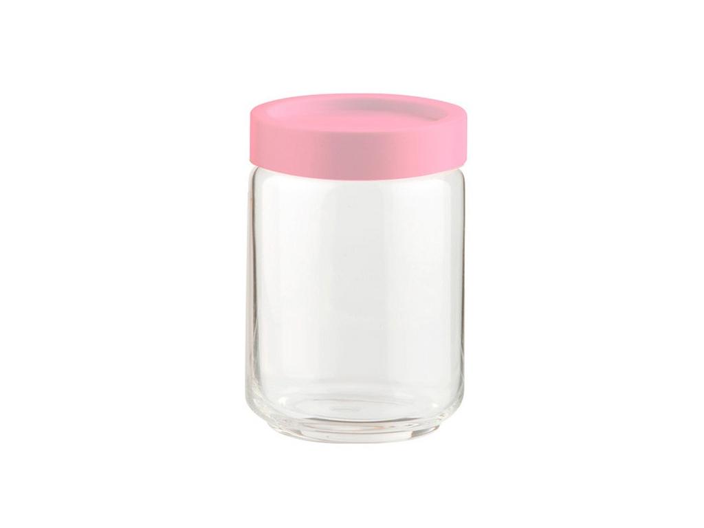 Γυάλινο Βάζο Αποθήκευσης με Πλαστικό Καπάκι Ασφαλείας σε Ροζ χρώμα Ιδανικό για α κουζίνα   κουτιά κουζίνας και ψωμιέρες