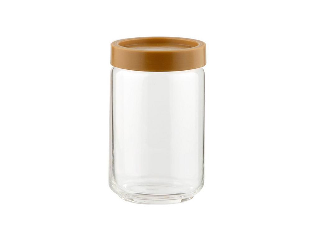 Γυάλινο Βάζο Αποθήκευσης με Πλαστικό Καπάκι Ασφαλείας σε Καφέ χρώμα Ιδανικό για  αξεσουάρ και εργαλεία κουζίνας   βαζάκια και θήκες μπαχαρικών